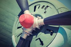Propeller of plane closeup in retro color Royalty Free Stock Photo