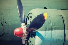 Propeller of plane closeup in retro tones Stock Images