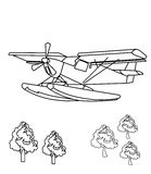 Propeller plane coloring page Stock Photos