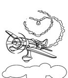 Propeller plane coloring page. Hand drawn propeller plane coloring page for kids Stock Photography