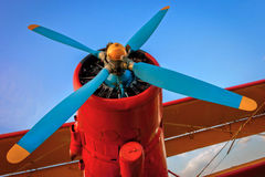 Propeller plane. The engine with the propeller red light airplanes Stock Photo