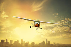 Propeller Plane Flying Stock Photo