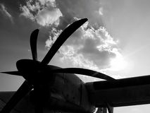 Propeller plane. Paking at the airport Stock Photo