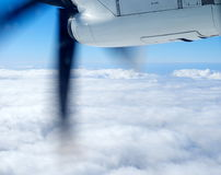 Propeller of the plane view from airplane window. Travel concept royalty free stock photography