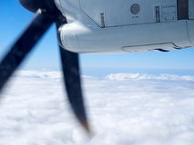 Propeller of the plane view from airplane window. Travel concept stock images