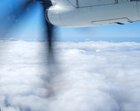 Propeller of the plane view from airplane window. Travel concept stock photography