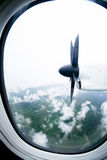 Propeller of the plane view. From window airplane stock images