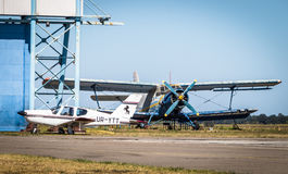 Propeller planes on the runway Royalty Free Stock Photography