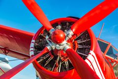 Propeller of Red biplane stock photography