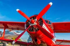 Propeller of Red biplane stock image