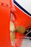 Propeller and rudder ship in dry dock. Stock Photos