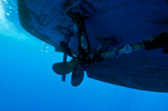 Propeller ship. Dangerous for divers, underwater view Stock Photography