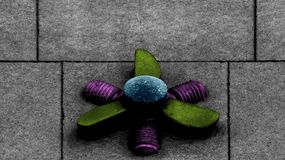 The propeller. Shot in black and white and painted in colors. Sculpture on the facade of this modern building, representing a propeller. Placed in Gràcia Stock Photos