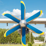 Propeller of turboprop engine on a light cargo plane Stock Photos