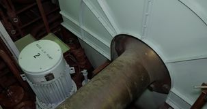 Propelleraxel med svänghjulet, huvudsaklig motor av skytteln arkivfilmer