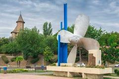 Propellermonument i Galati, Rumänien Royaltyfri Fotografi