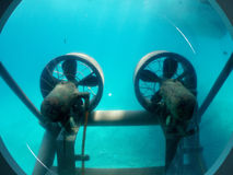 Propellers under the Water. Propellers of the submarine captured under the water Royalty Free Stock Image