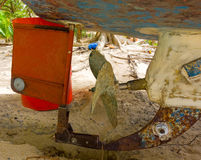 A propellor and rudder in the grenadines Royalty Free Stock Photo