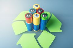 Proper disposal of toxic to the soil environment and batteries. Recycling of harmful substances for ecological. Used AA and proper disposal of toxic to the Royalty Free Stock Photography