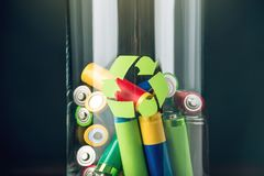 Proper disposal of toxic to the soil environment and batteries. Recycling of harmful substances for ecological Royalty Free Stock Image