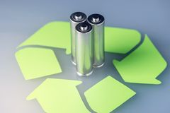 Proper disposal of toxic to the soil environment and batteries. Recycling of harmful substances for ecological. Used AA and proper disposal of toxic to the Stock Photo