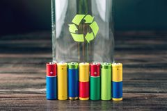 Proper disposal of toxic to the soil environment and batteries. Recycling of harmful substances for ecological Stock Photo