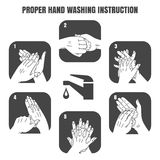 Proper hand washing instruction black vector icons Royalty Free Stock Photography