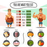 Proper nutrition, diet calories and healthy lifestyle. You are what eat infographic vector. Proper nutrition, diet calories and healthy lifestyle. You are what Stock Photo