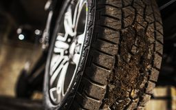 Proper Pickup Tire. And Vehicle Traction on the Soft Ground Concept Photo Stock Photos