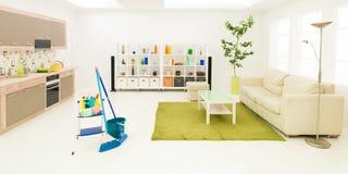 Propere ruimte na de lente het schoonmaken Stock Foto