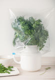 Properly stored fresh herbs - in water and wrapped Stock Photos