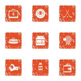 Propertied icons set, grunge style. Propertied icons set. Grunge set of 9 propertied vector icons for web isolated on white background Stock Photography
