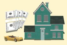 Properties and assets - car house and cash. A computer generated illustration image of a car, a house and ready liquid cash against a light yellow backdrop vector illustration