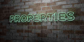 PROPERTIES - Glowing Neon Sign on stonework wall - 3D rendered royalty free stock illustration. Can be used for online banner ads and direct mailers Royalty Free Stock Images