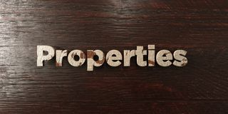 Properties - grungy wooden headline on Maple  - 3D rendered royalty free stock image. This image can be used for an online website banner ad or a print Stock Photo