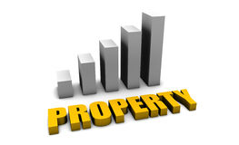 Property. Value in 3d with Bar Graph Chart Stock Image
