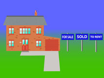 Property. A house with three signs all relating to the property market Stock Photo
