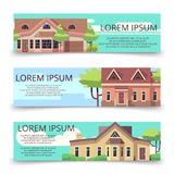 Property advertising horizontal banners template with flat style houses. Banner with home illustration vector Royalty Free Stock Photography