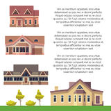 Property advertising poster design with flat houses. Banner with buildings illustration vector Stock Photo