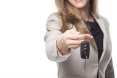 Property agent. Close up image of property agent holding a key Stock Image