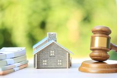 Property auction, Gavel wooden and model house on natural green background, lawyer of home real estate and ownership property