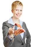 Property broker with house and keys Stock Photos