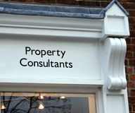 Property consultants sign. Sign of an office or a business serving the public Royalty Free Stock Image