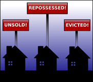 Property Crisis looming signs. Illustration of three black houses in silhouette under signs stating unsold, repossessed and evicted on a blue gradient background Royalty Free Stock Image