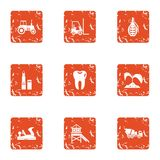 Property developer icons set, grunge style. Property developer icons set. Grunge set of 9 property developer vector icons for web isolated on white background Royalty Free Stock Photo