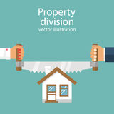 Property division. vector. Property division. End of marriage. Man and a woman holding a saw in hand cut house. The symbol of the dissolution of the marriage Stock Photo