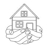 Property donation icon in outline style isolated on white background.  Royalty Free Stock Photography