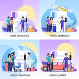 Property, Health, Travel Insurance Services Set. Insurance Services for Property, Health and Travel Flat Banners Set. Insurer or Doctor with Huge Pen Meeting and royalty free illustration