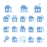 Property and House Insurance Icon Set. Vector Royalty Free Stock Photo