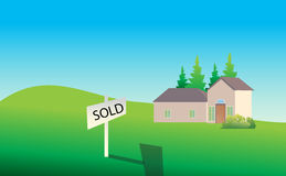 Property/House For Sale - Sold. Sold house on the green land Royalty Free Stock Image